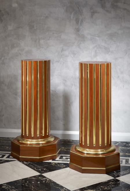 A pair of Empire period Russian mahogany columns