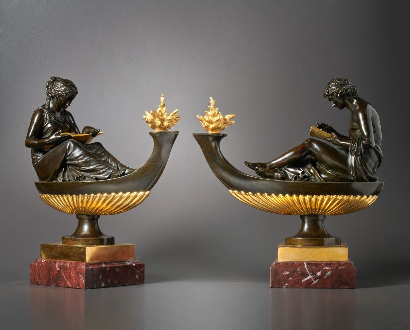 A pair of Louis XVI oil lamps featuring the figures of L'Étude and La Philosophie, attributed to Pierre-Philippe Thomire
