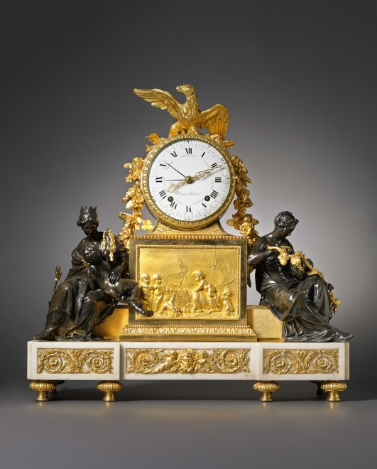 A Louis XVI gilt and patinated bronze and white marble mantel clock by Renacle-Nicolas Sotiau