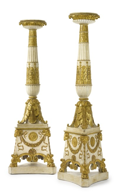 A pair of large Empire torchères, after a design of Charles Percier and Pierre François-Léonard Fontaine