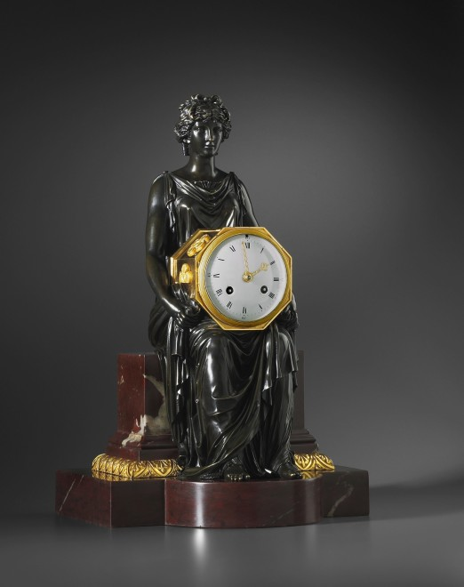 An Empire mantel clock