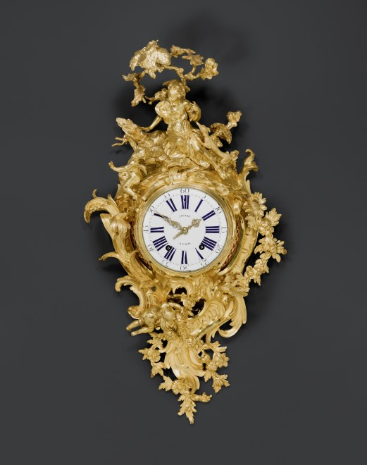 A large Louis XV figural cartel clock by Louis Jouard, case by Jean-Joseph de Saint-Germain