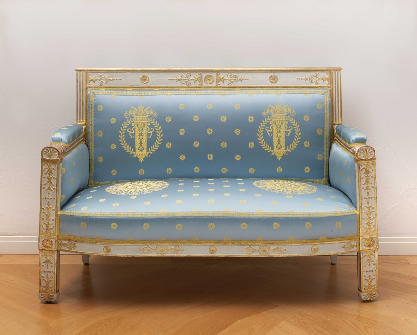 A set of Empire furniture comprising a canapé, two fauteuils and two side chairs attributed to Pierre-Gaston Brion