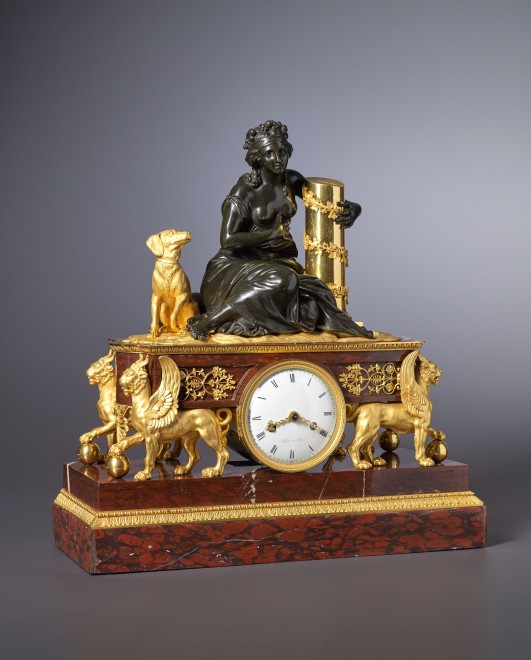 An Empire mantel clock by Levol and housed in a case attributed to either Pierre-Philippe Thomire or André-Antoine Ravrio