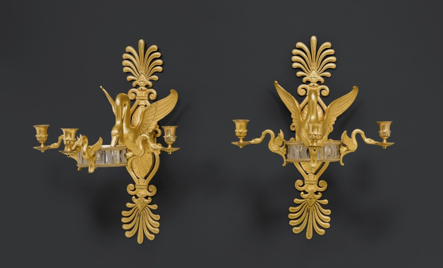 Apair of Empire figural three-light wall-lights attributed to Claude Galle