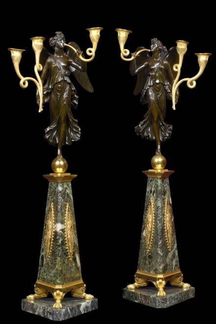 A pair of Empire three-light candelabra attributed to Pierre-Philippe Thomire after a design by Pierre-Louis-Arnulphe Duguers de Montrosier