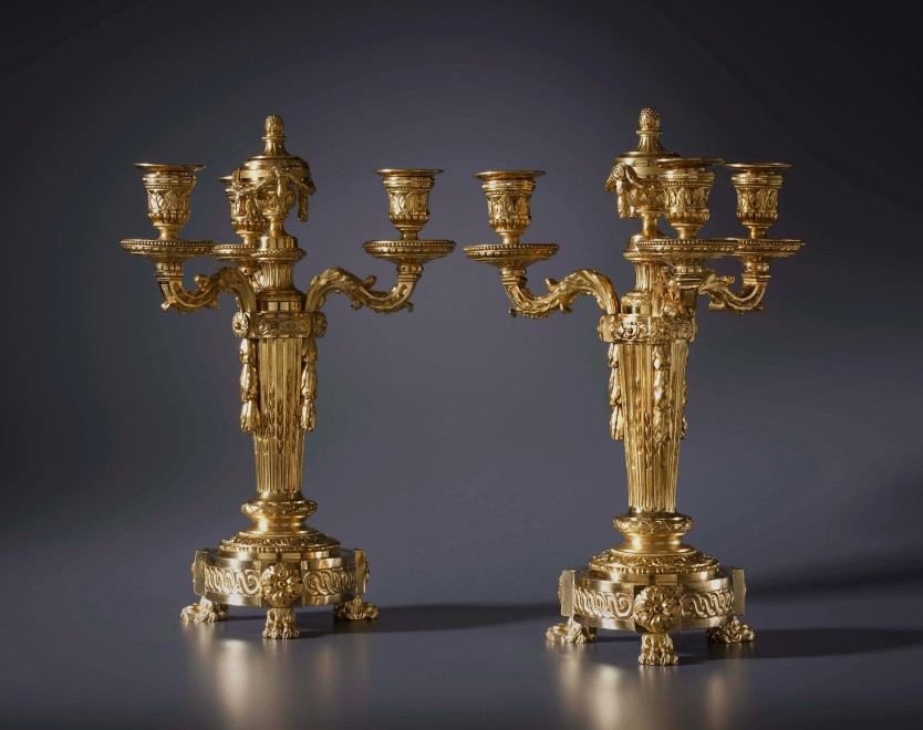 A pair of Louis XVI four light candelabra cassolettes, Paris, date circa 1765