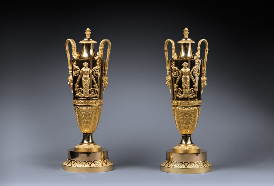 A pair of covered vases attributed to Claude Galle