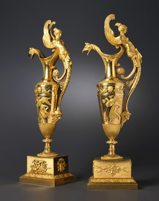 A large pair of Empire ewers attributed to Claude Galle