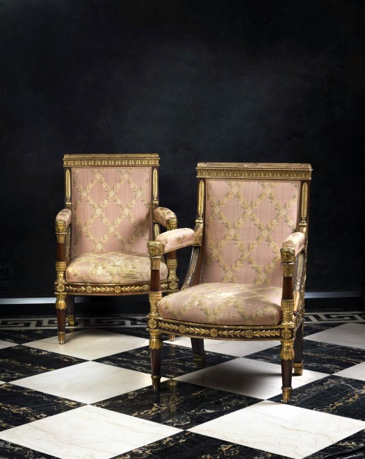 A pair of Empire fauteuils by Jacob-Desmalter et Cie