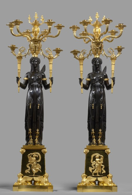 A pair of Empire ten-light candelabra attributed to Claude Galle