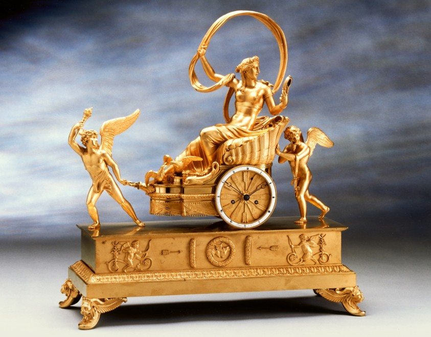 An Empire gilt bronze chariot clock by Louis Moinet housed in a case by Pierre-Philippe Thomire