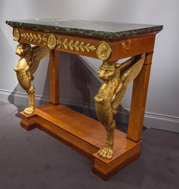 An Empire console table attributed to Jacob-Desmalter et Cie, gilt bronze mounts attributed to Pierre-Philippe Thomire