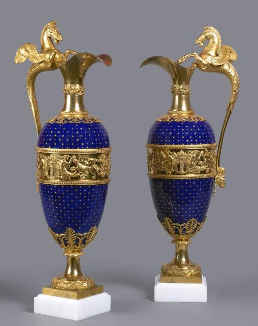 A pair of Louis XVI ewers