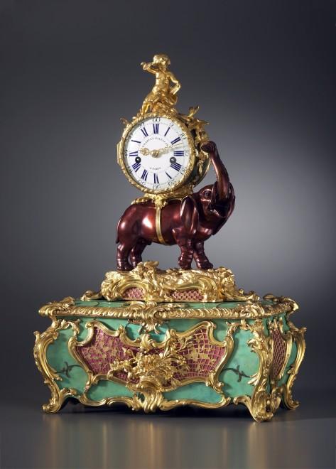 A Louis XV Pendule 'À L'Éléphant' with music box, by Charles Baltazar à Paris