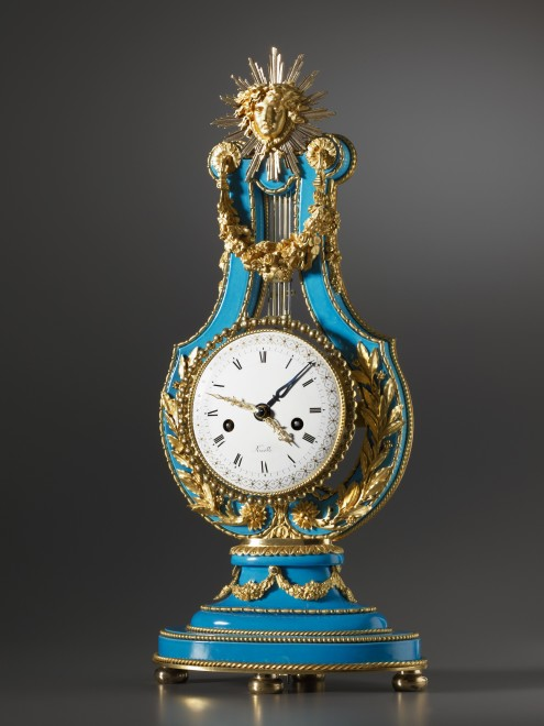 A Louis XVI lyre clock, enamel work by Etienne Gobin, known as Dubuisson and movement by Dieudonné Kinable