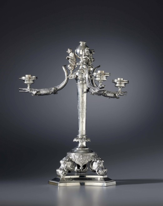 A unique Victorian four-light candelabrum by Henry Wilkinson and Co Ltd