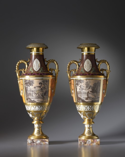 A pair of late Empire Paris Porcelain two-handled vases