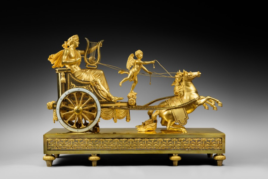 A Directoire chariot clock of eight day duration by Jean-Simon Deverberie
