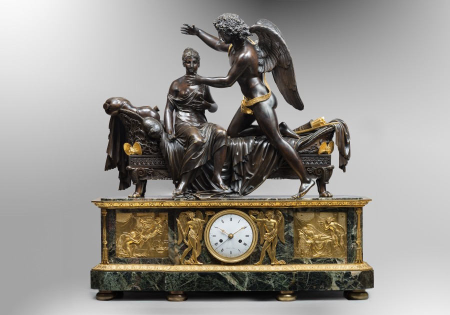 A Empire clock of eight day duration, movement by Mesnil, case attributed to Pierre-Philippe Thomire