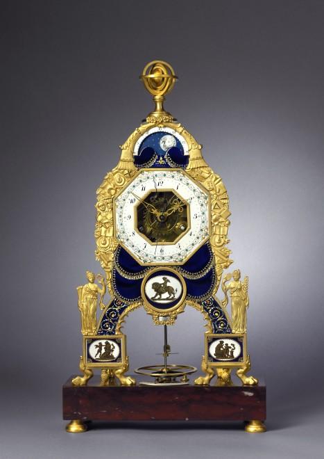A late Louis XVI  skeleton mantel clock by Joseph Coteau