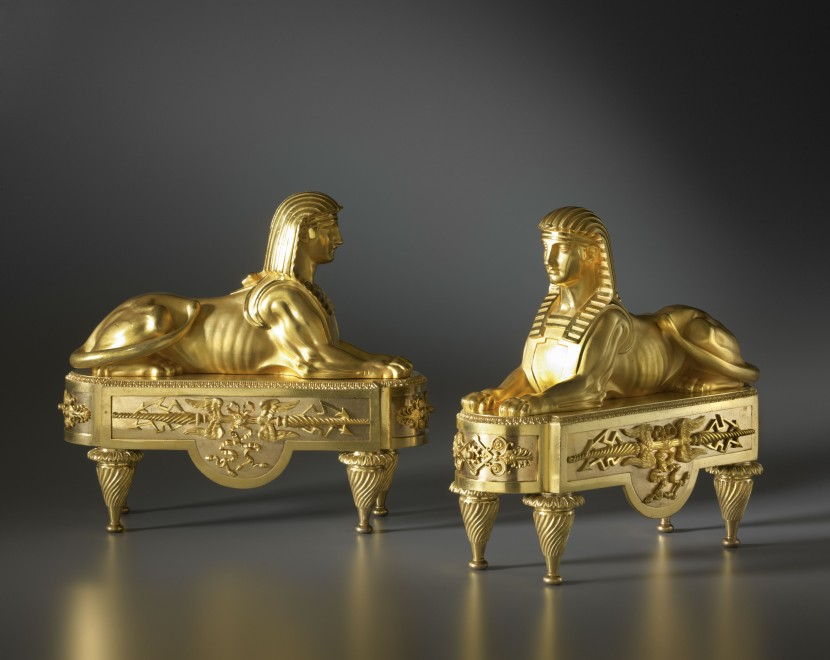 A Empire chenets attributed to Pierre-Philippe Thomire