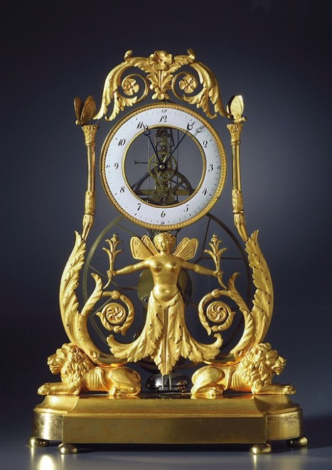 An Empire quarter striking skeleton clock of two to three months duration
