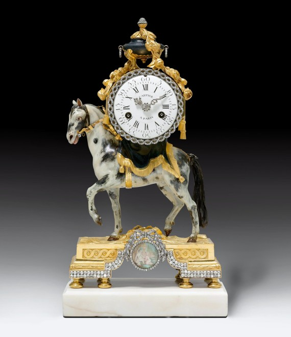 A Louis XVI miniature pendule 'au cheval' by Bernard Cartier, the case by François Vion