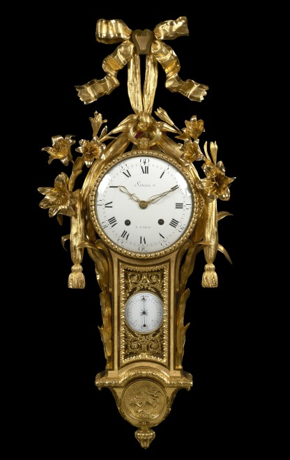 A Louis XVI cartel clock with barometer, the clock movement by Renacle-Nicolas Sotiau, the barometer by Antoine Carcano and dial by Jean-Antoine Cave