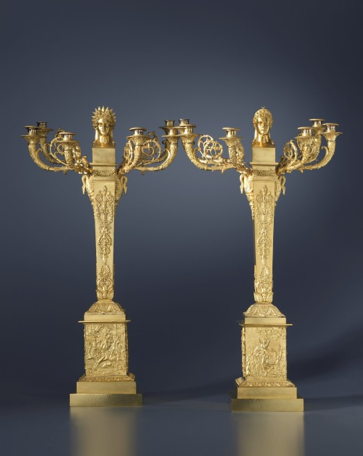 A pair of Empire six-light candelabra, representing Apollo and Diana