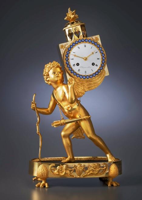 An Empire mantel clock 'à la lanterne magique' , by L. Grognot