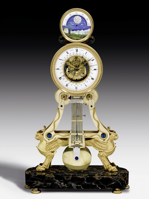 An Directoire/Empire skeleton clock with moon phase by Paratte