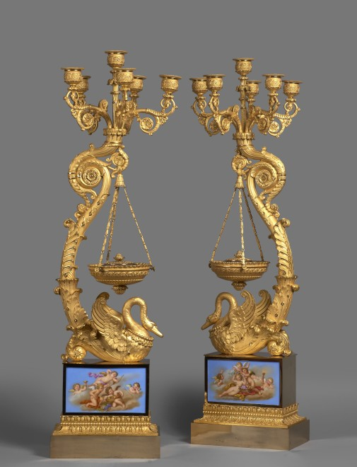 A pair of Empire six-light candelabra with brûle-parfums attributed to Pierre-Philippe Thomire