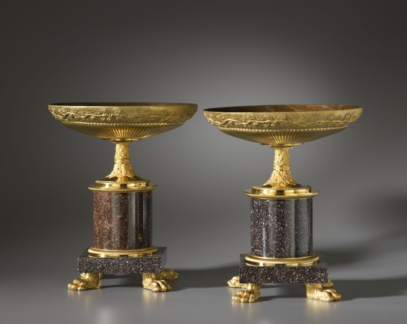 A pair of Empire coupes, each with a circular gadrooned dish
