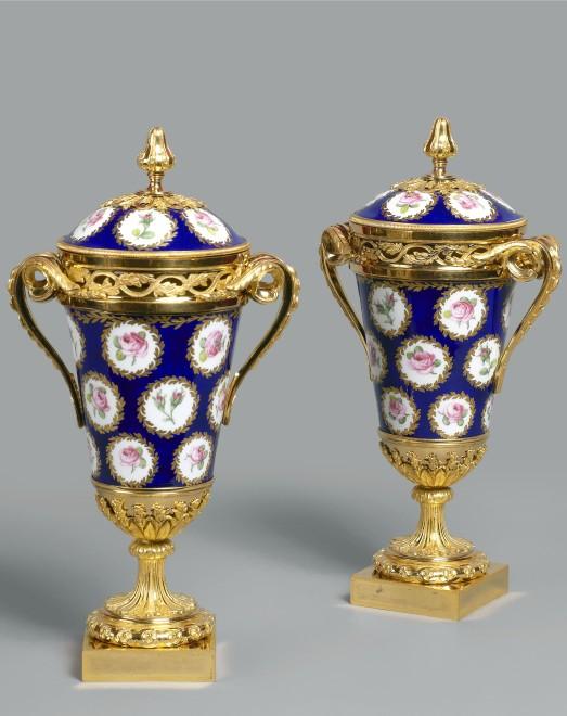 A pair of Louis XVI pot-pourri vases and covers