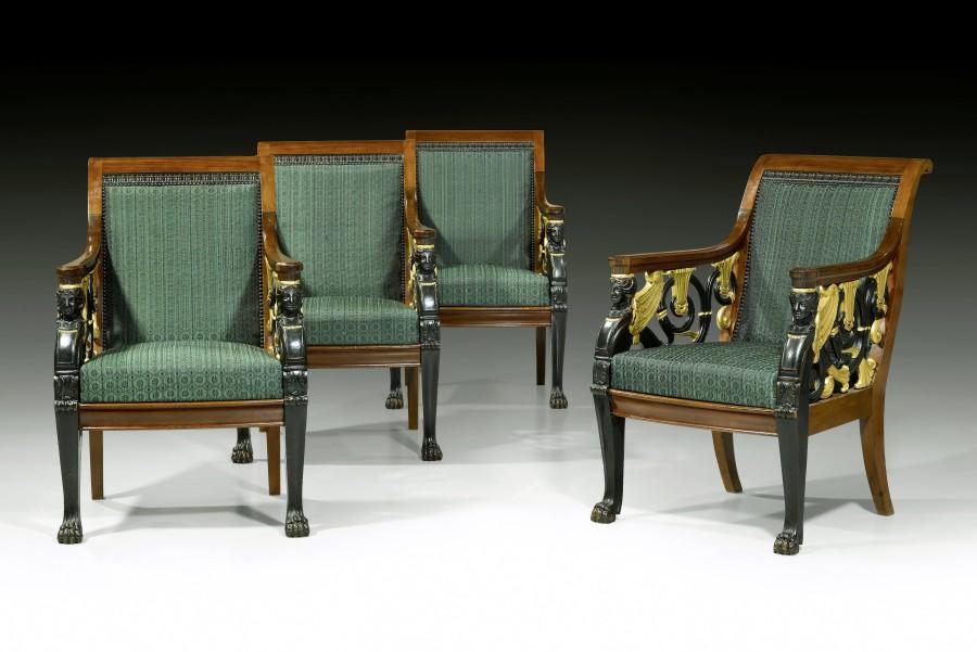 A set of four Russian Empire open fauteuils