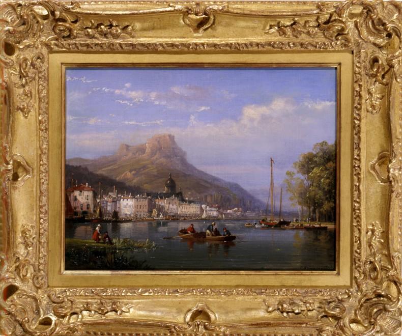 """Fishing in the Harbour"" by Charles Euphrasie Kuwasseg"