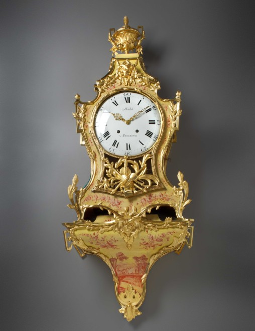 A Louis XVI cartel clock with musical movement and bracket by Michel à Bourbonne