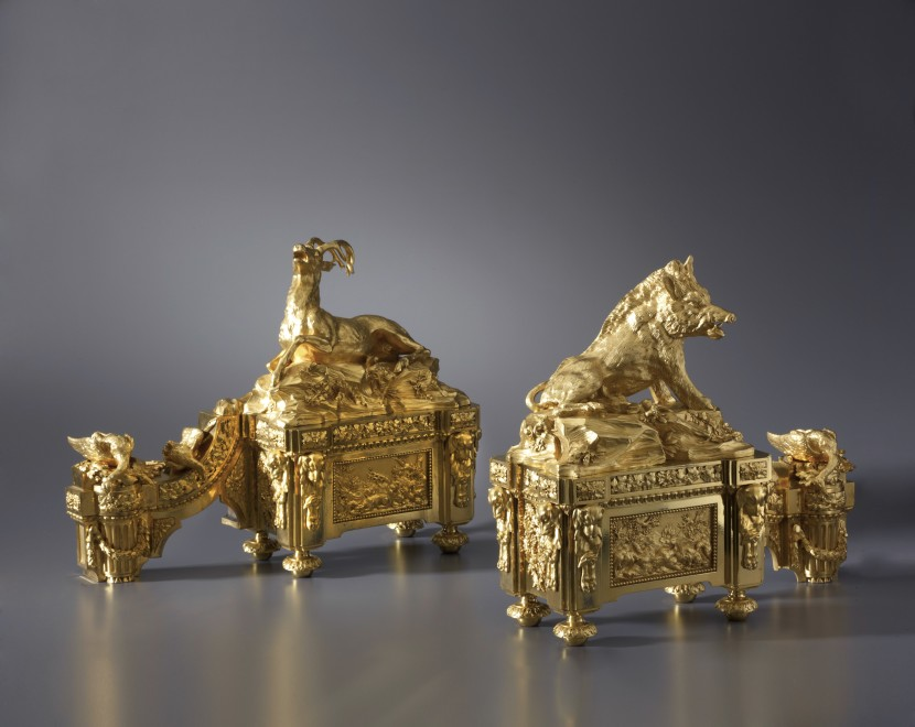 A pair of Louis XVI style chenets attributed to Alfred Beurdeley Père after a pair by Quentin-Claude Pitoin