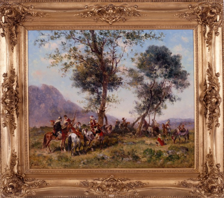 """""""Arab Horsemen Resting in the Shade under Trees"""" by Georges Washington"""
