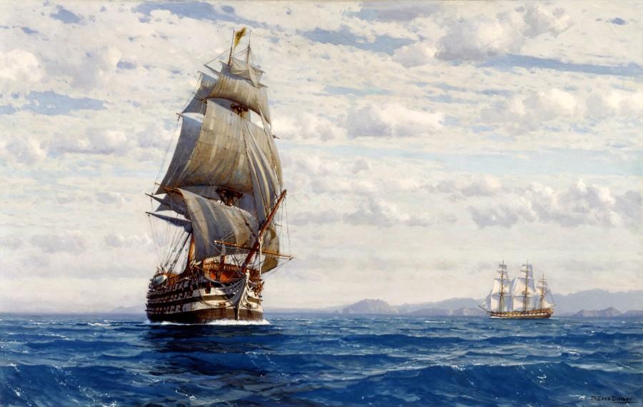 """Man 'O' War off the Coast of Valparaiso"" by Michael Zeno Diemer"