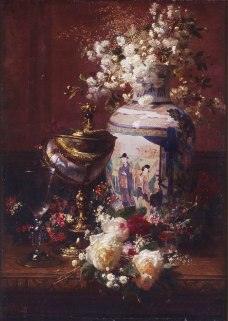 """""""Still-life with Japanese vase"""" by Jean-Baptiste Robie"""