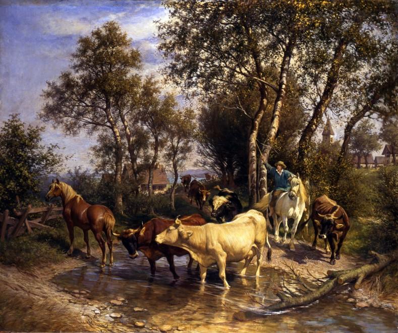 """Viehherde am Bach"" by Rudolf Koller"