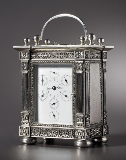 An astronomical carriage clock of eight day duration by Henri Moser