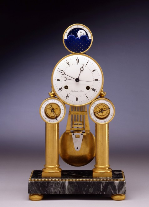 An Empire astronomical skeleton table regulator by Jean-Hilaire Bassereau, enamel work attributed to Dubuisson