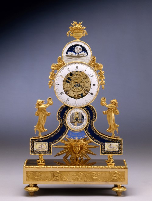 A Directoire astronomical skeleton table regulator by Romain, enamel by Dubuisson, case attributed to Pierre-Philippe Thomire