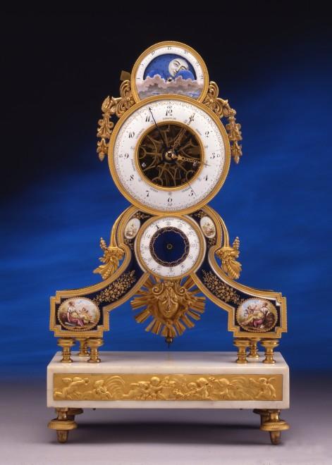 A Louis XVI skeletonised pendulum clock, the enamel work attributed to Joseph Coteau
