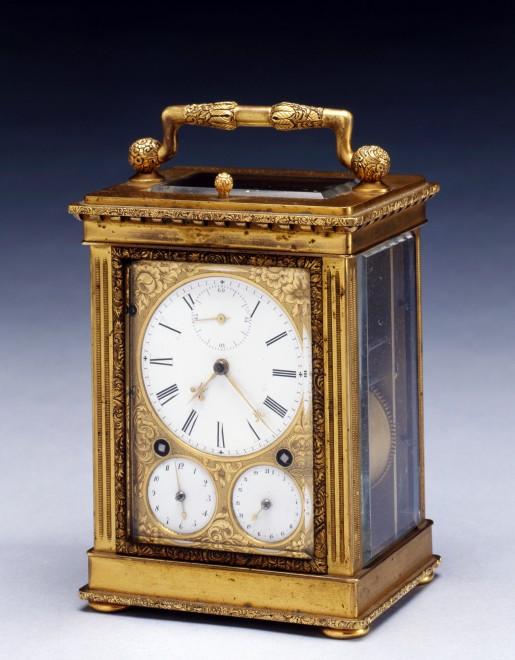 An early nineteenth century Swiss gilt brass Grande Sonnerie carriage clock, by Frédéric-Alexander Courvoisier