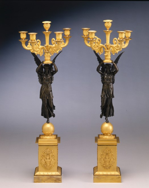 A pair of Empire five-light figural candelabra 'A la Victoire' attributed to Claude Galle