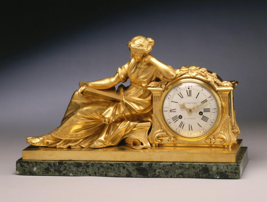 "A Louis XVI figural clock entitled ""Allegory of Study"" or ""The Geoffrin Clock"", by Nicolas-Antoine Le Nepvue"